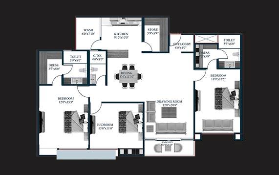 3 BHK residence plan