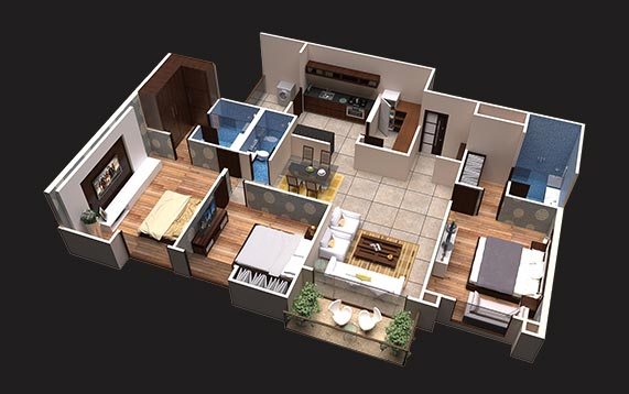 3 BHK - luxury apartments in Indore